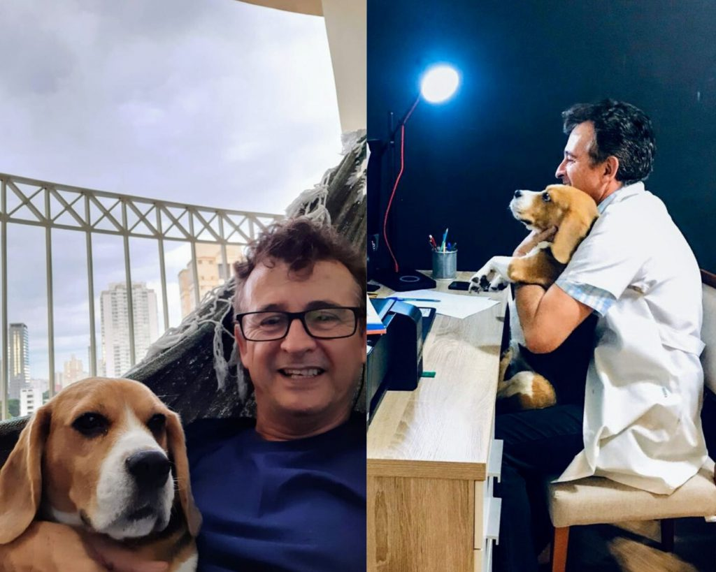 Professor Marcos Balbino ministrando aula virtual com o seu cachorro. Crédito: Arquivo pessoal.