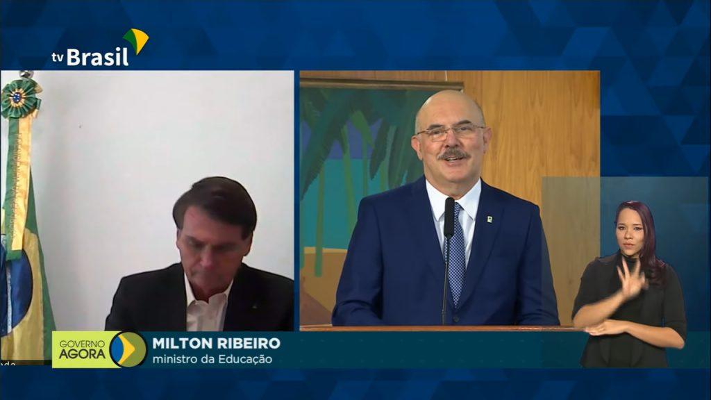 Posse do novo ministro da Educação, Milton Ribeiro. Crédito: Tv Brasil/Reprodução.