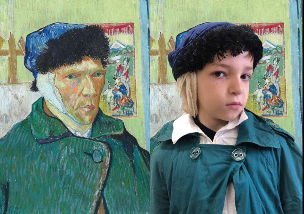 Autorretrato com a Orelha Cortada de Vincent van Gogh é representado por aluno.