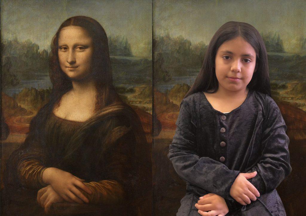 Aluna representa pintura de Leonardo Da Vinci.