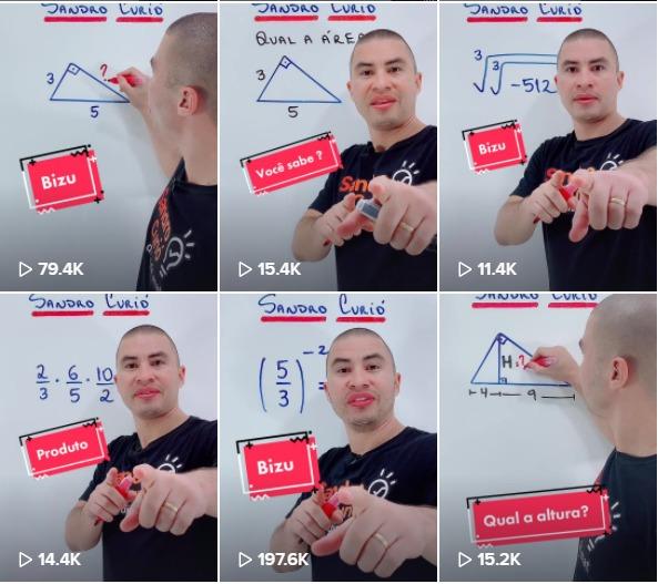 Professor Sandro Curió utilizando o TikTok em aula de matemática. Crédito: Divulgação.
