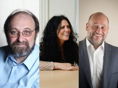 Miguel Nicolelis, Paula Sibila e Clóvis de Barros Filho são professores dos cursos de pós-graduação digital da PUCPR. Crédito: Divulgação.