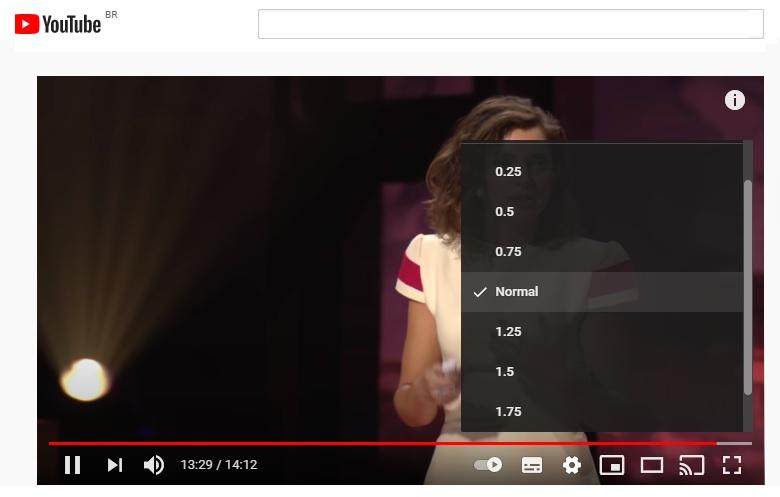 YouTube permite que velocidade dos vídeos seja acelerada ou diminuída, a gosto do usuário.